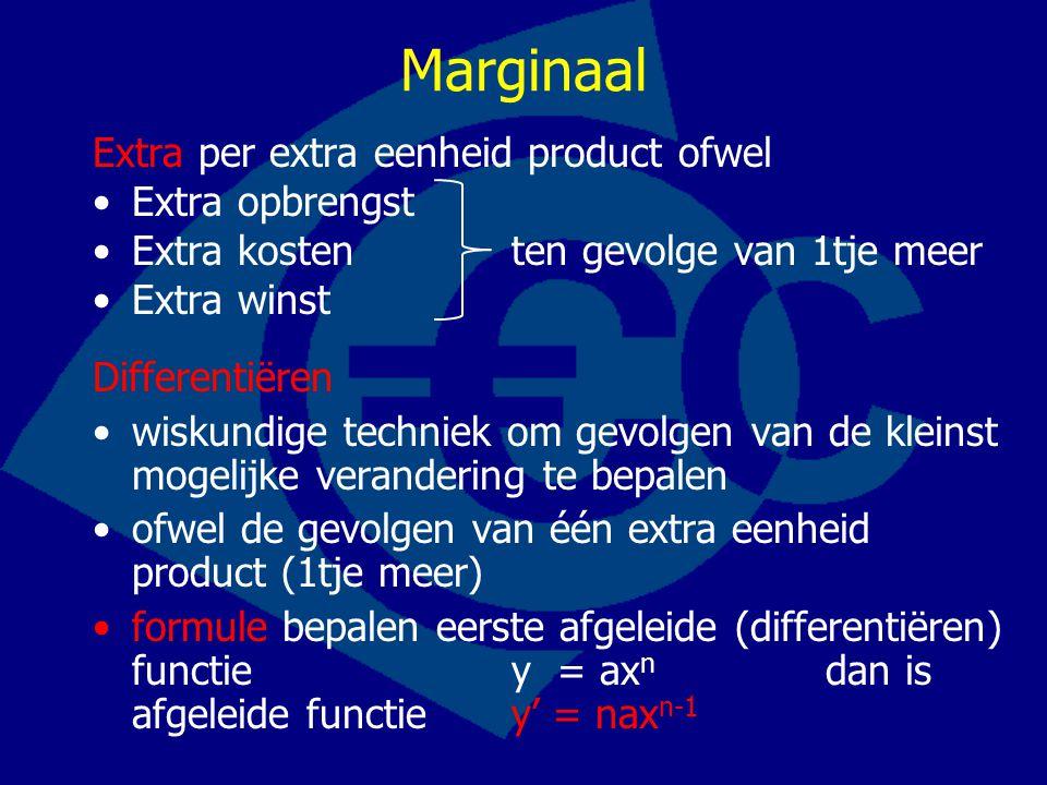 Marginaal Extra per extra eenheid product ofwel Extra opbrengst