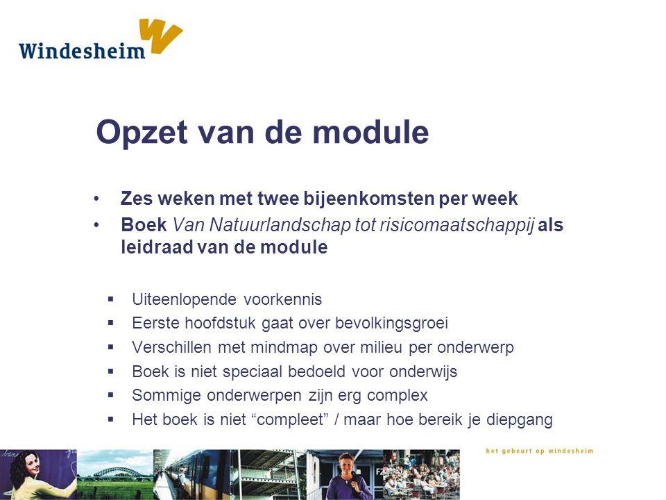 Opzet van de module Zes weken met twee bijeenkomsten per week