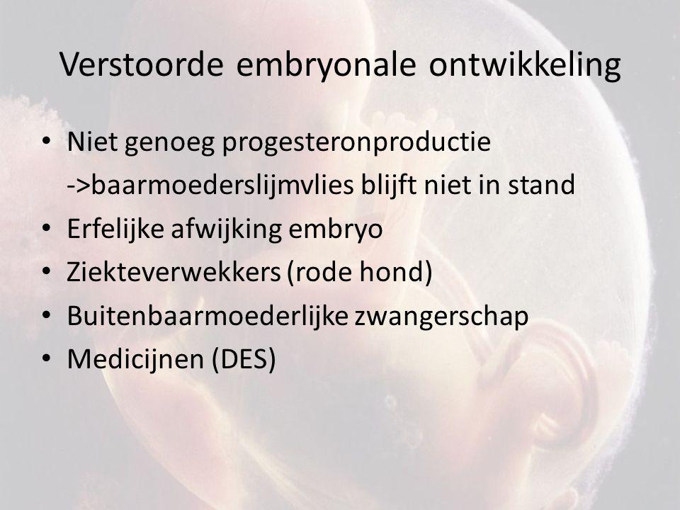 Verstoorde embryonale ontwikkeling