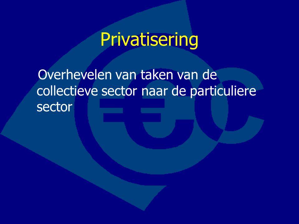 Privatisering Overhevelen van taken van de collectieve sector naar de particuliere sector