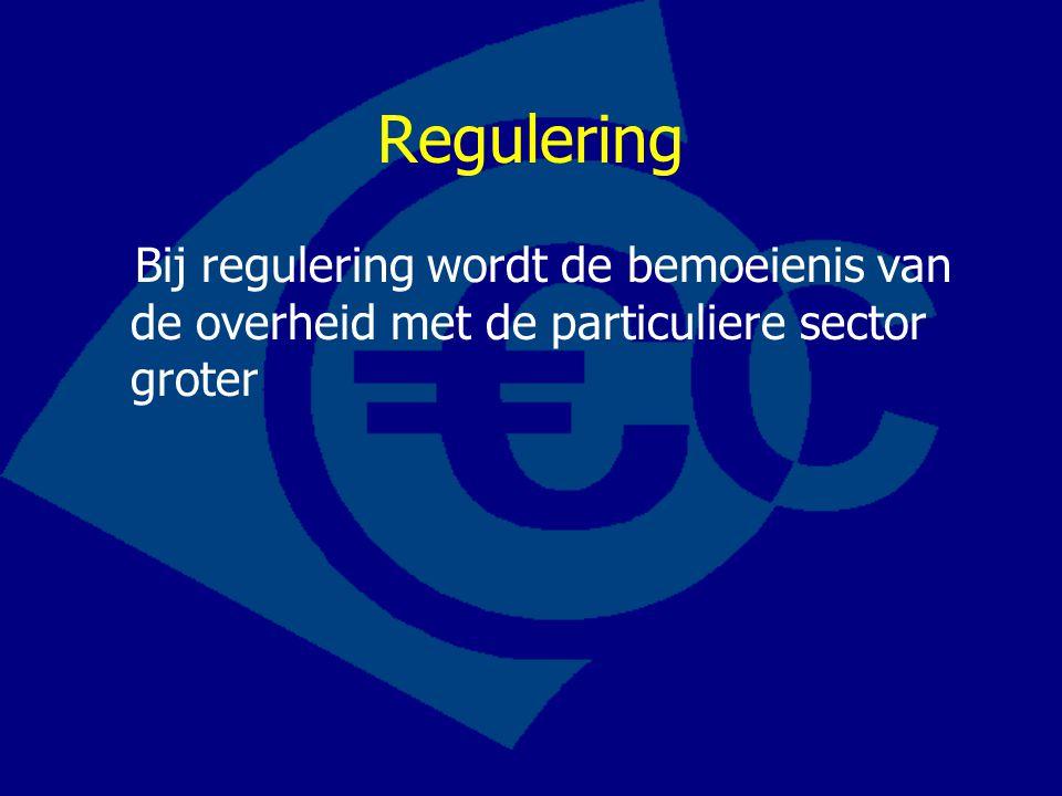 Regulering Bij regulering wordt de bemoeienis van de overheid met de particuliere sector groter