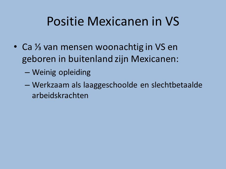 Positie Mexicanen in VS