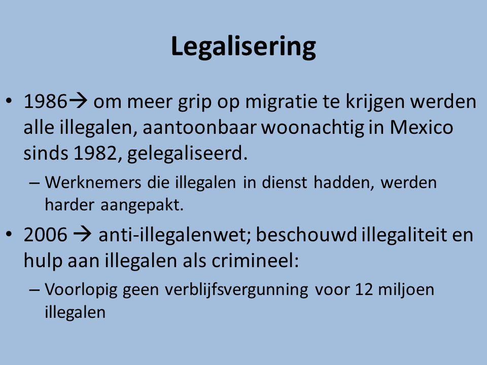 Legalisering 1986 om meer grip op migratie te krijgen werden alle illegalen, aantoonbaar woonachtig in Mexico sinds 1982, gelegaliseerd.