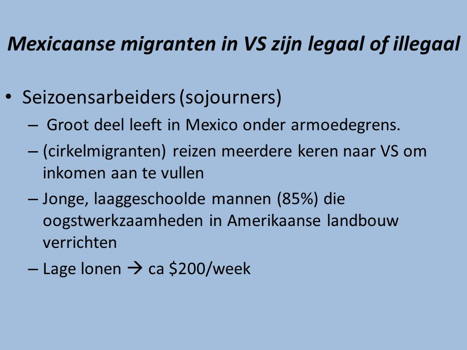 Mexicaanse migranten in VS zijn legaal of illegaal