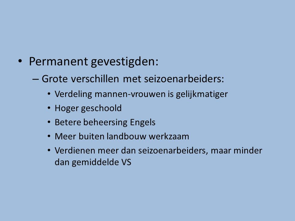 Permanent gevestigden: