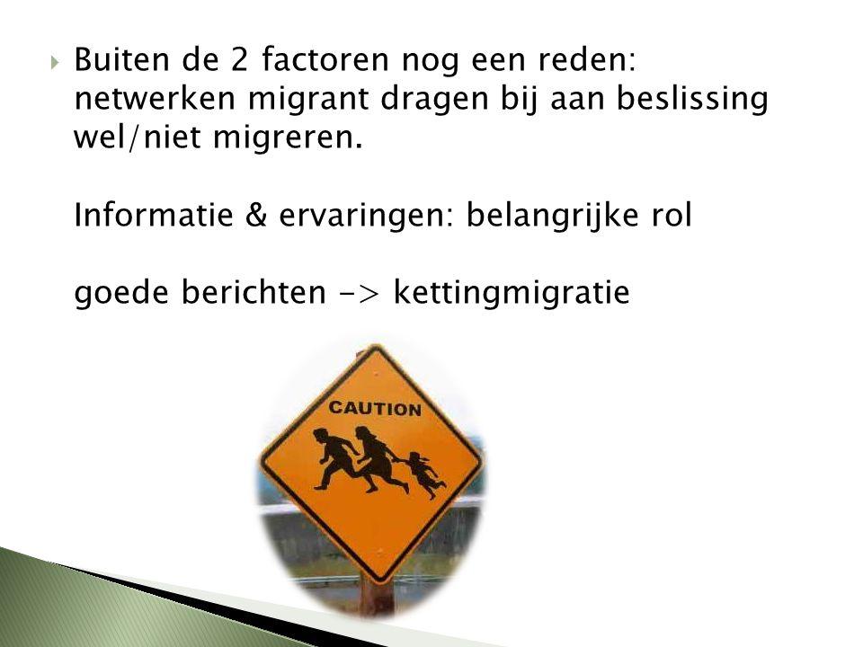Buiten de 2 factoren nog een reden: netwerken migrant dragen bij aan beslissing wel/niet migreren.