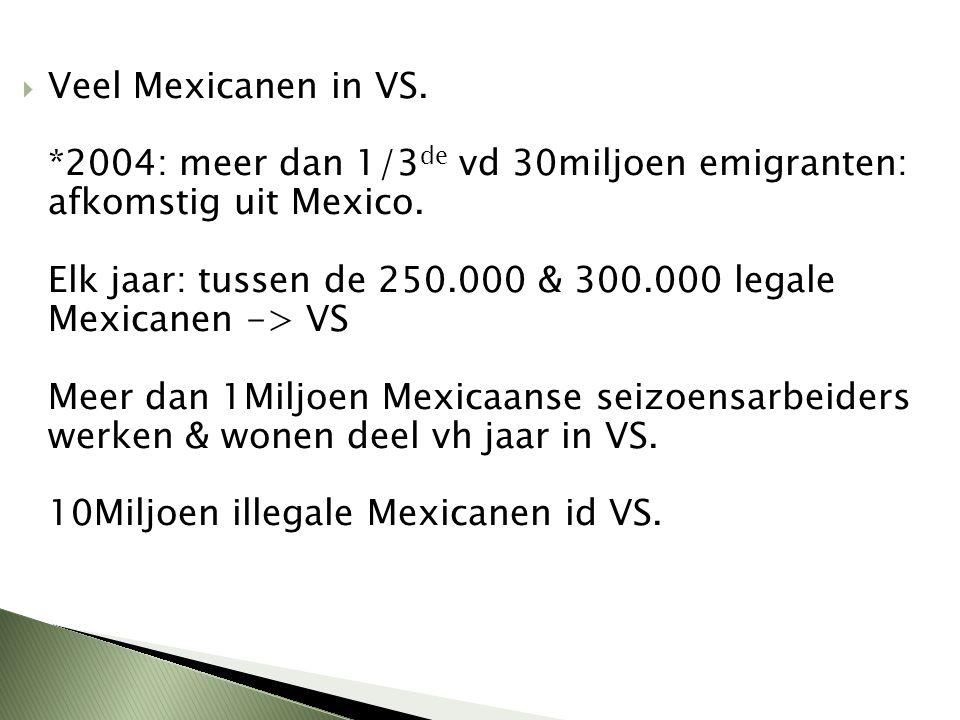 Veel Mexicanen in VS. *2004: meer dan 1/3de vd 30miljoen emigranten: afkomstig uit Mexico.