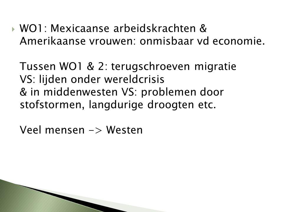 WO1: Mexicaanse arbeidskrachten & Amerikaanse vrouwen: onmisbaar vd economie.