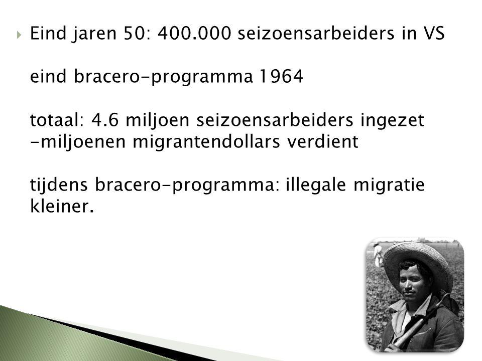 Eind jaren 50: 400.000 seizoensarbeiders in VS eind bracero-programma 1964 totaal: 4.6 miljoen seizoensarbeiders ingezet -miljoenen migrantendollars verdient tijdens bracero-programma: illegale migratie kleiner.