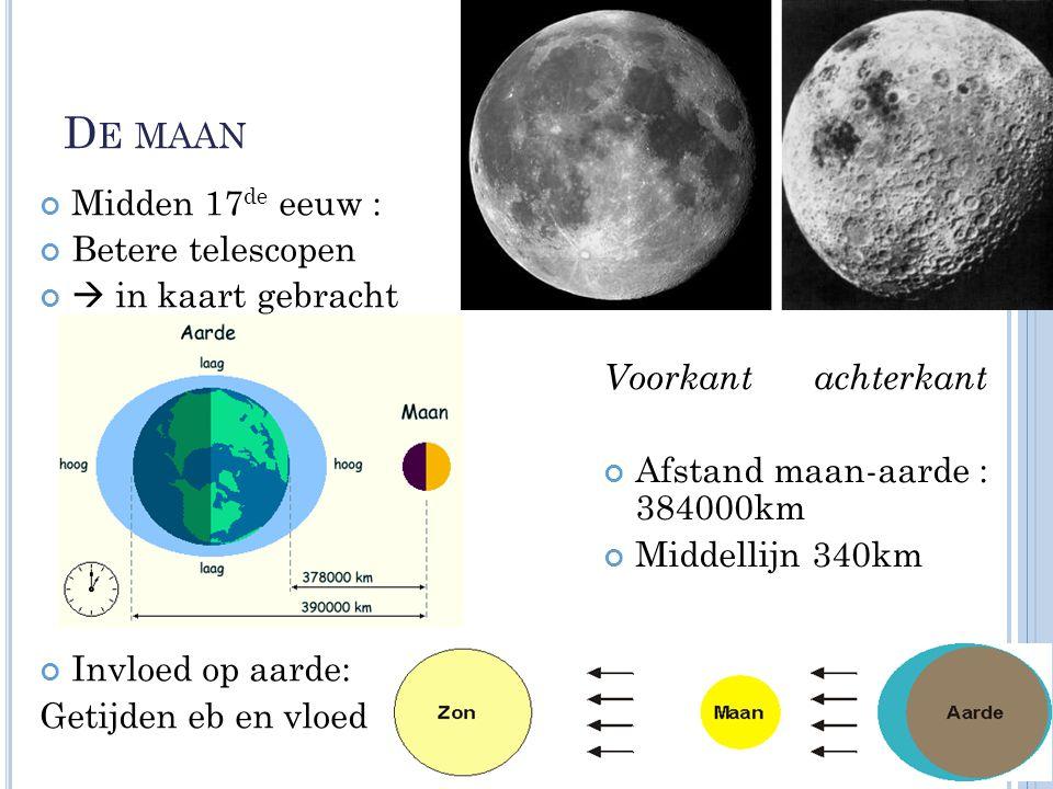 De maan Midden 17de eeuw : Betere telescopen  in kaart gebracht