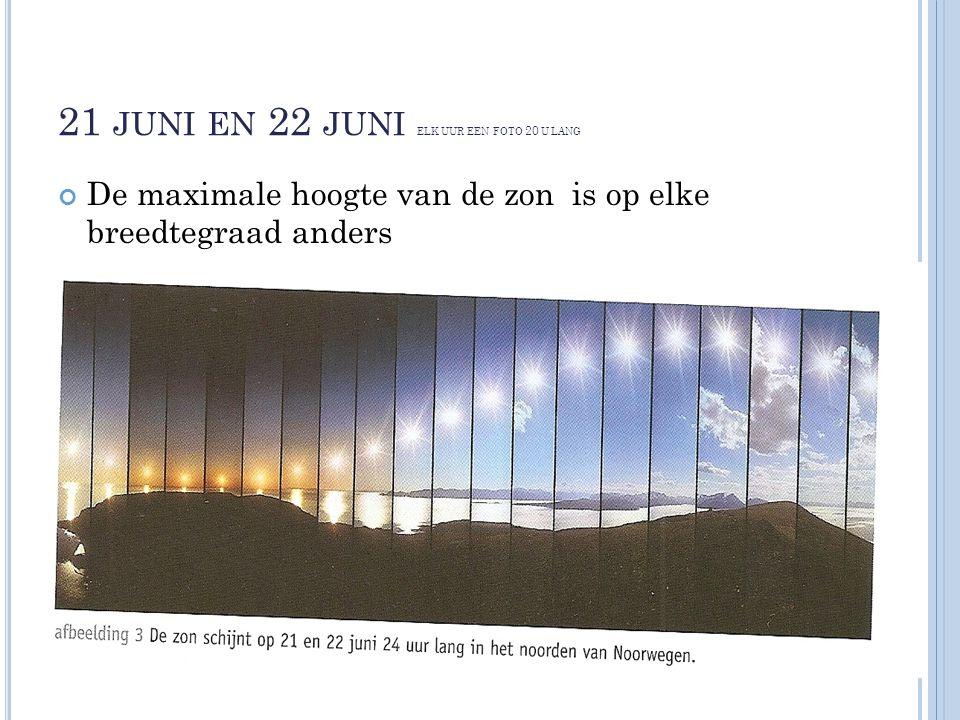 21 juni en 22 juni elk uur een foto 20 u lang