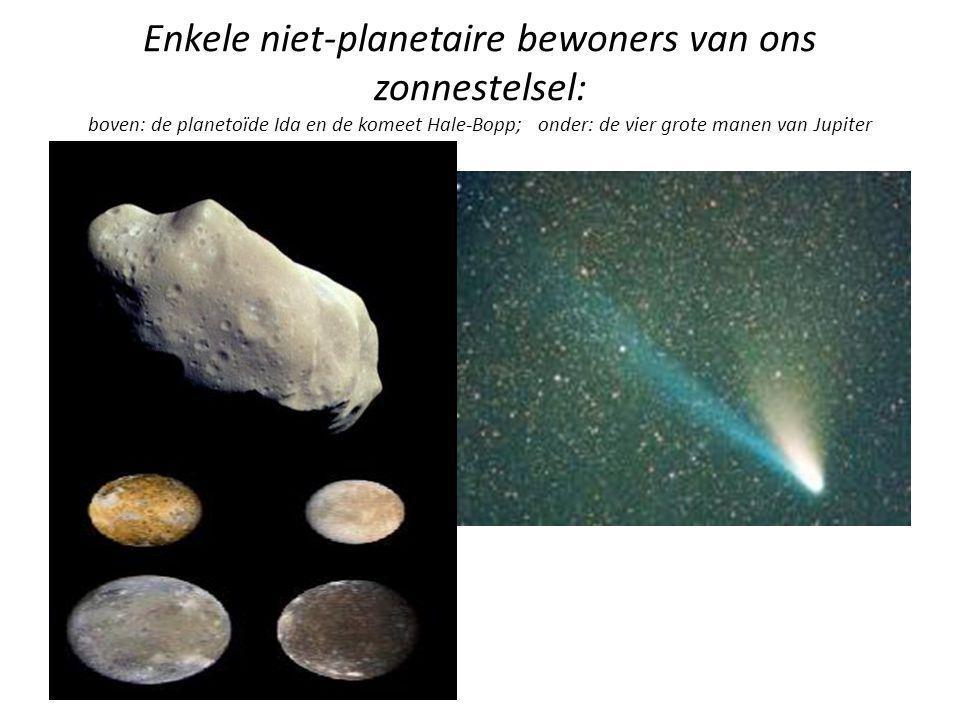 Enkele niet-planetaire bewoners van ons zonnestelsel: boven: de planetoïde Ida en de komeet Hale-Bopp; onder: de vier grote manen van Jupiter