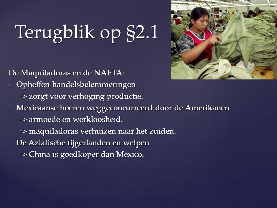 Terugblik op §2.1 De Maquiladoras en de NAFTA: