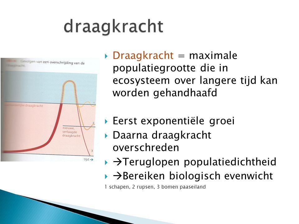 draagkracht Draagkracht = maximale populatiegrootte die in ecosysteem over langere tijd kan worden gehandhaafd.