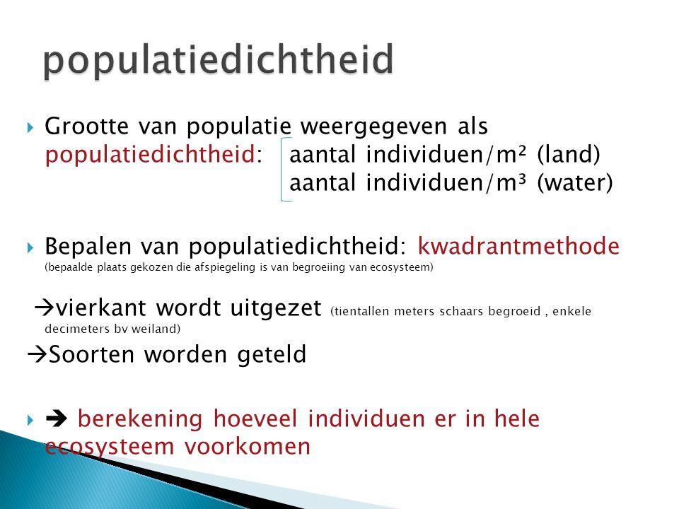 populatiedichtheid Grootte van populatie weergegeven als populatiedichtheid: aantal individuen/m² (land) aantal individuen/m³ (water)