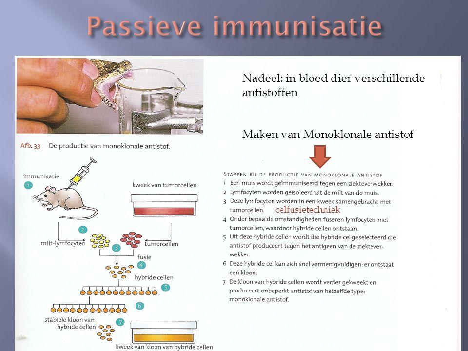 Passieve immunisatie Nadeel: in bloed dier verschillende antistoffen