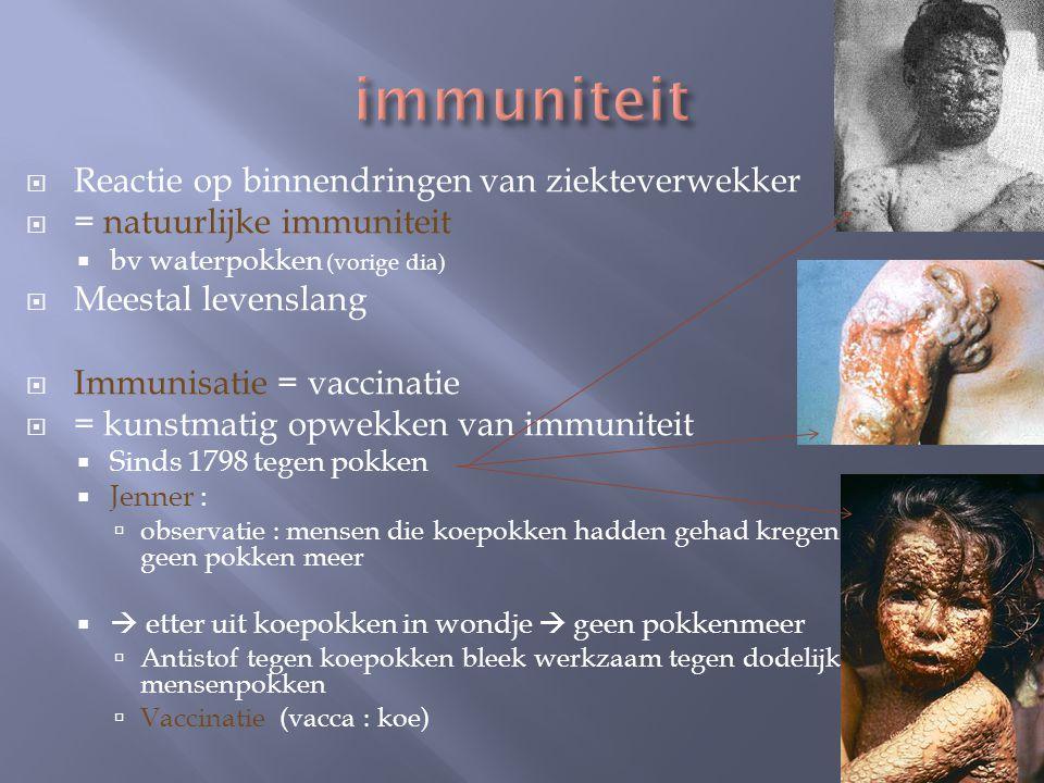 immuniteit Reactie op binnendringen van ziekteverwekker