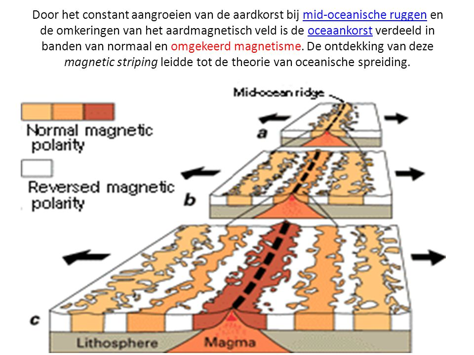 Door het constant aangroeien van de aardkorst bij mid-oceanische ruggen en de omkeringen van het aardmagnetisch veld is de oceaankorst verdeeld in banden van normaal en omgekeerd magnetisme.