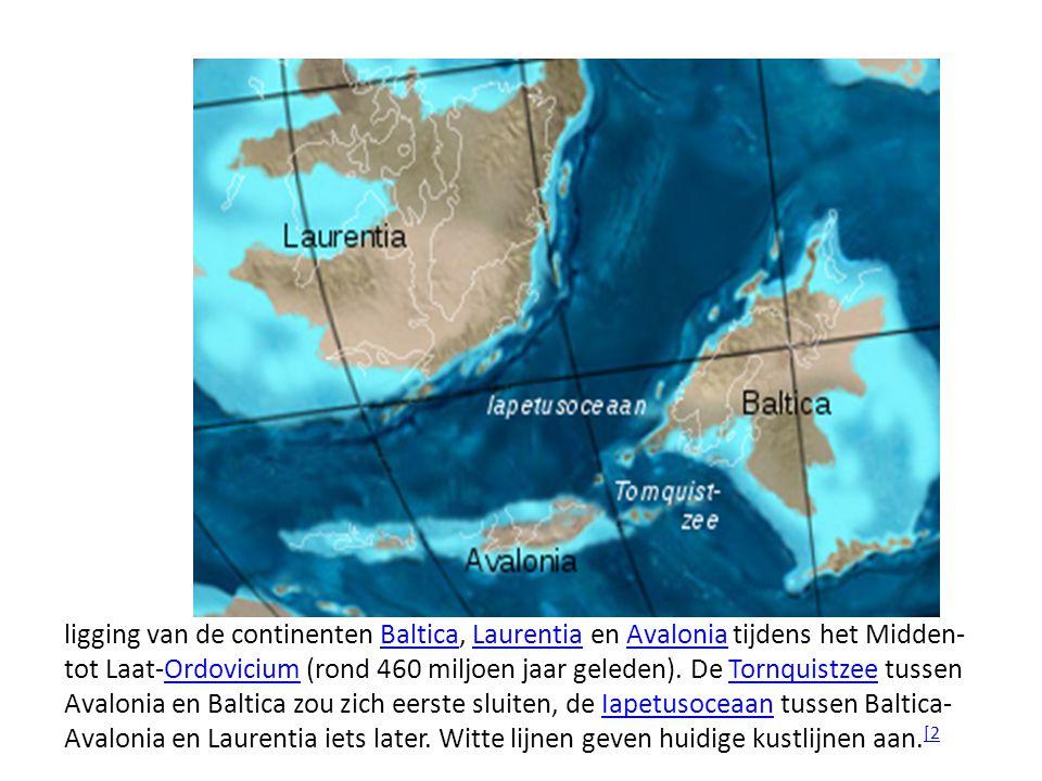 ligging van de continenten Baltica, Laurentia en Avalonia tijdens het Midden- tot Laat-Ordovicium (rond 460 miljoen jaar geleden).