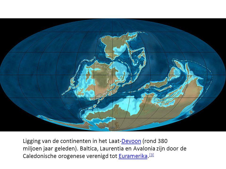 Ligging van de continenten in het Laat-Devoon (rond 380 miljoen jaar geleden).