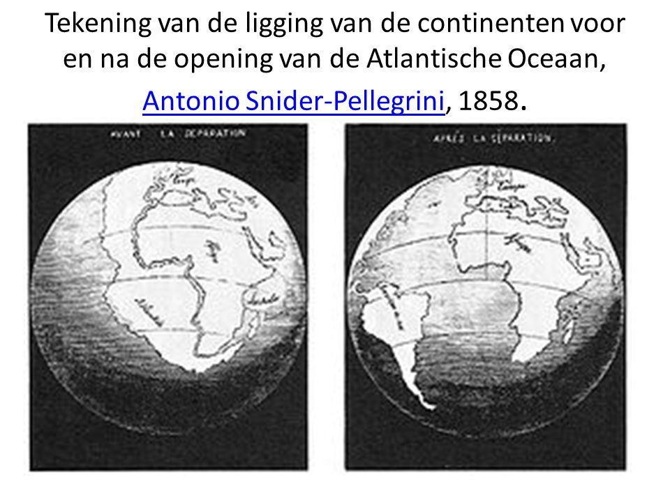 Tekening van de ligging van de continenten voor en na de opening van de Atlantische Oceaan, Antonio Snider-Pellegrini, 1858.