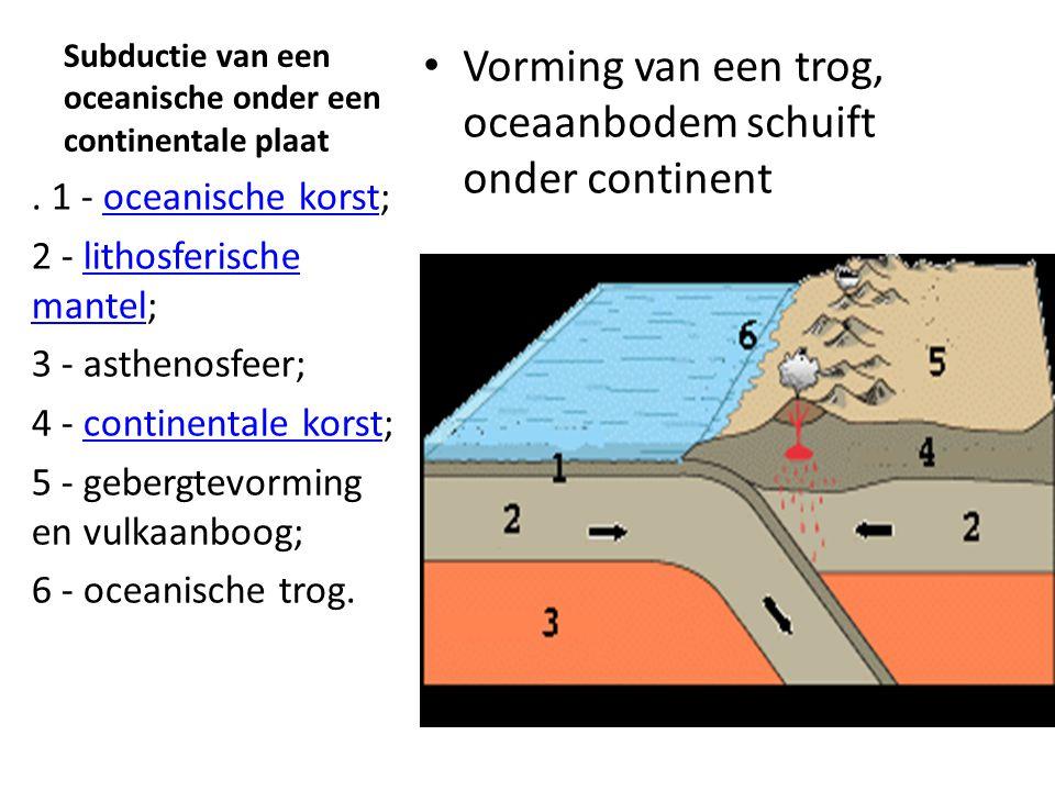 Subductie van een oceanische onder een continentale plaat
