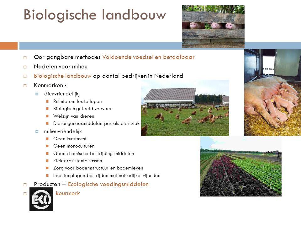 Biologische landbouw Oor gangbare methodes Voldoende voedsel en betaalbaar. Nadelen voor milieu.