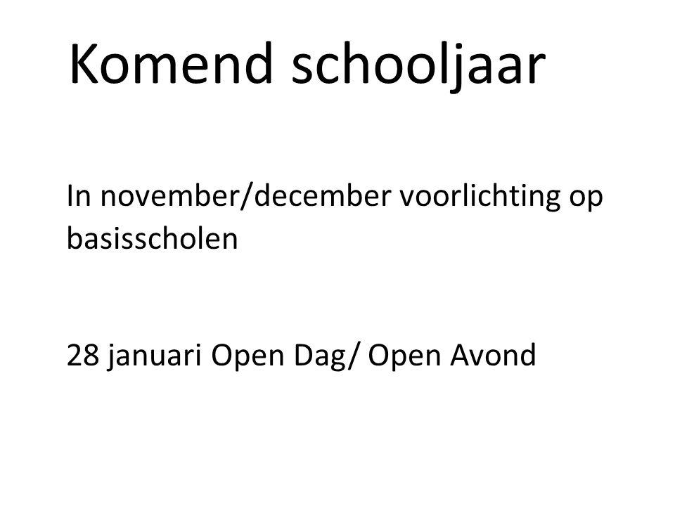 Komend schooljaar In november/december voorlichting op basisscholen