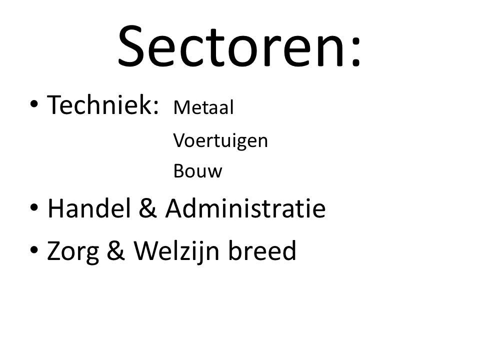 Sectoren: Techniek: Metaal Handel & Administratie Zorg & Welzijn breed