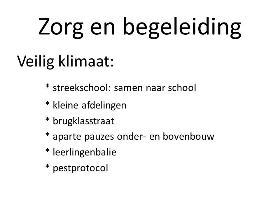 Zorg en begeleiding Veilig klimaat: * streekschool: samen naar school