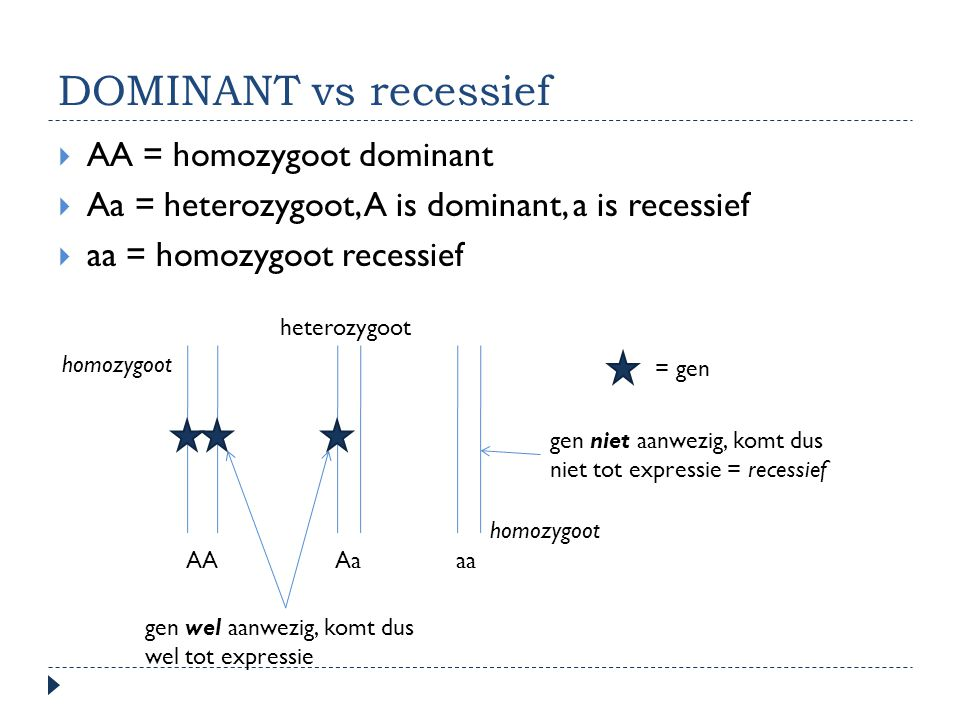 DOMINANT vs recessief AA = homozygoot dominant