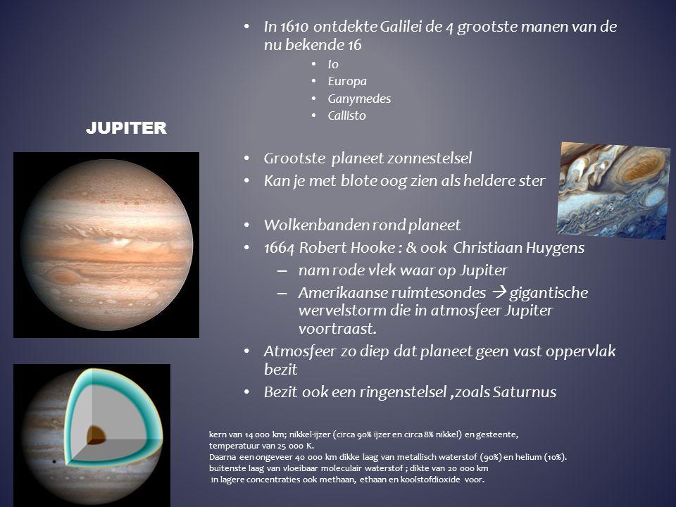 In 1610 ontdekte Galilei de 4 grootste manen van de nu bekende 16