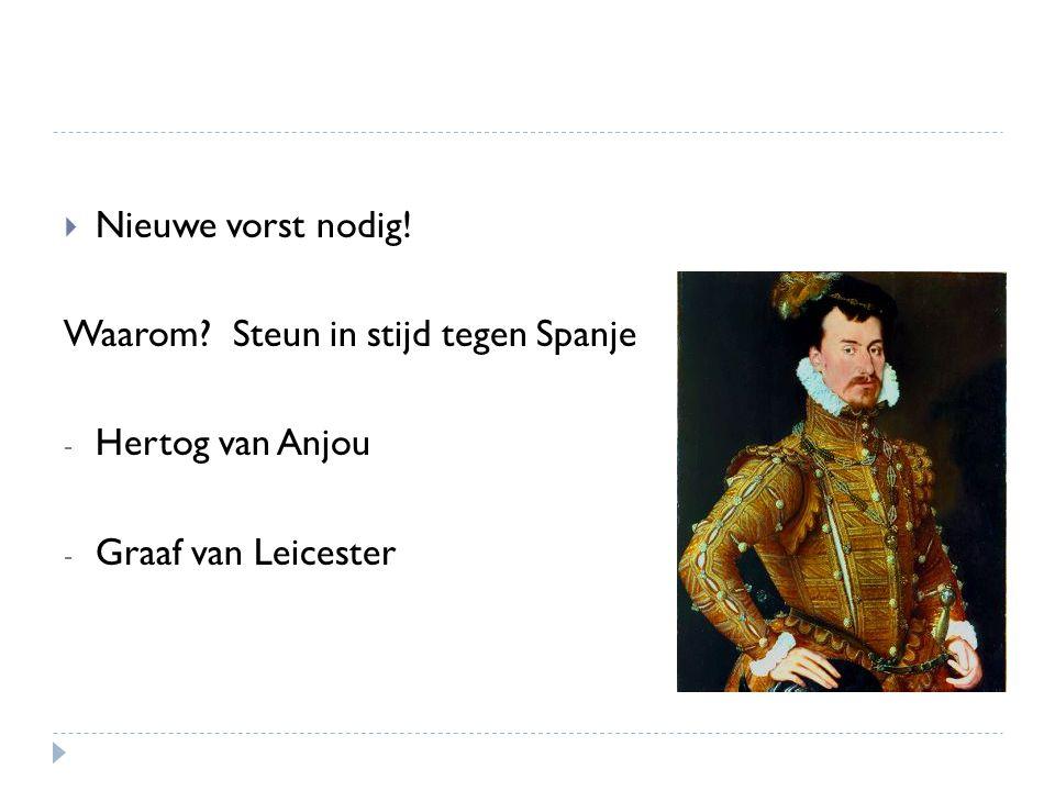 Nieuwe vorst nodig! Waarom Steun in stijd tegen Spanje Hertog van Anjou Graaf van Leicester