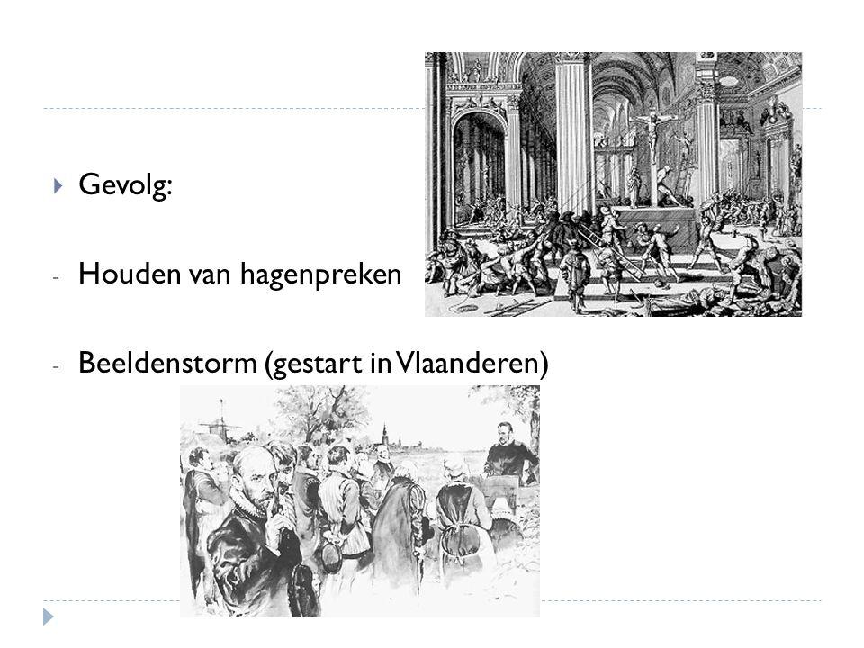 Gevolg: Houden van hagenpreken Beeldenstorm (gestart in Vlaanderen)