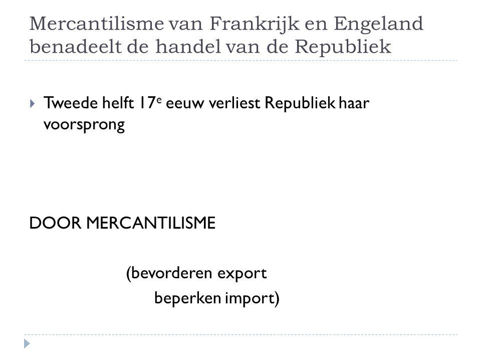 Mercantilisme van Frankrijk en Engeland benadeelt de handel van de Republiek