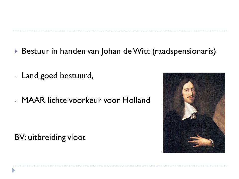 Bestuur in handen van Johan de Witt (raadspensionaris)