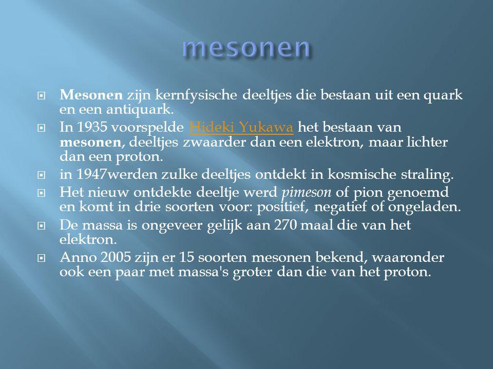 mesonen Mesonen zijn kernfysische deeltjes die bestaan uit een quark en een antiquark.