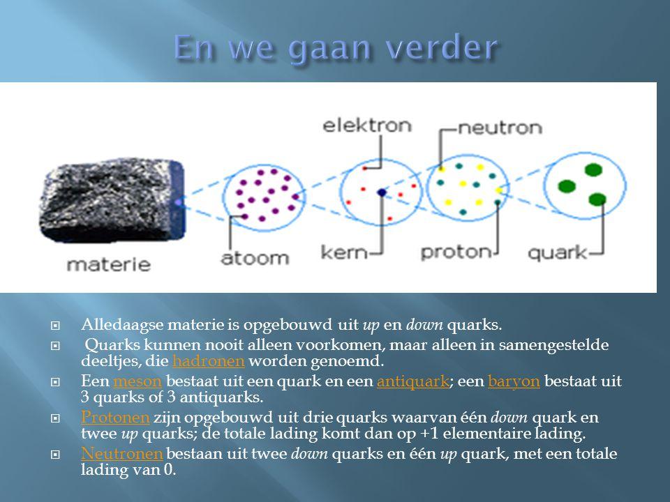 En we gaan verder Alledaagse materie is opgebouwd uit up en down quarks.