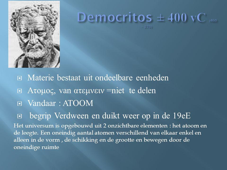 Democritos ± 400 vC (460 – 370) Materie bestaat uit ondeelbare eenheden. Ατομος, van ατεμνειν =niet te delen.