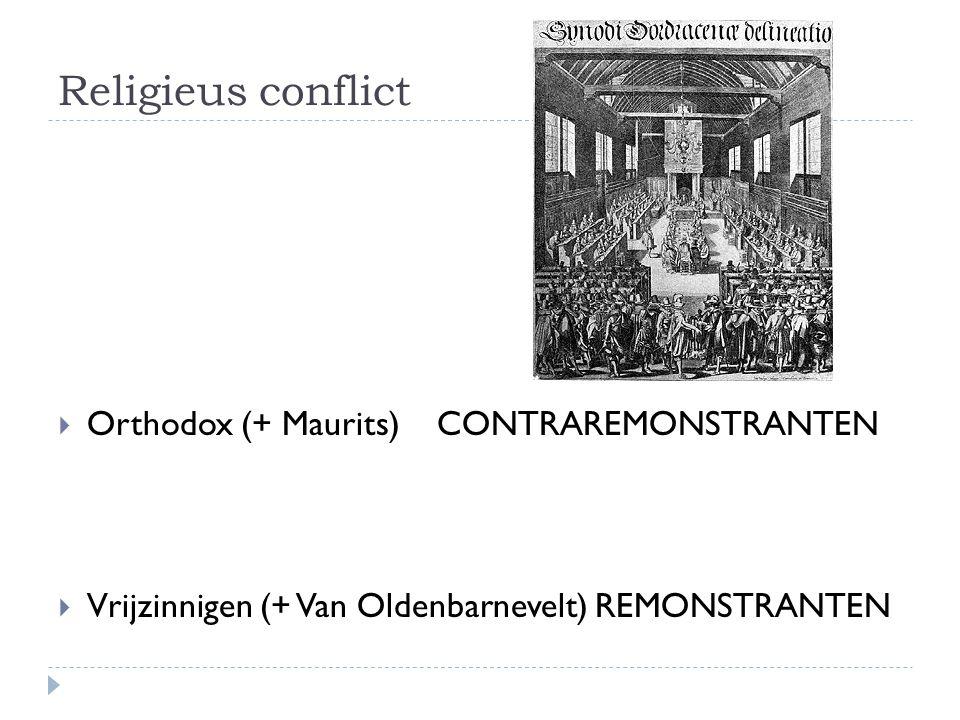 Religieus conflict Orthodox (+ Maurits) CONTRAREMONSTRANTEN