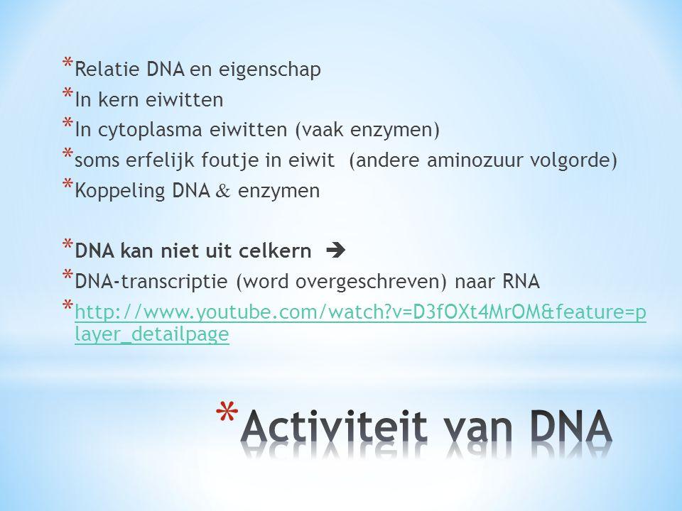 Activiteit van DNA Relatie DNA en eigenschap In kern eiwitten