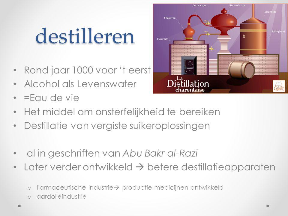 destilleren Rond jaar 1000 voor 't eerst Alcohol als Levenswater