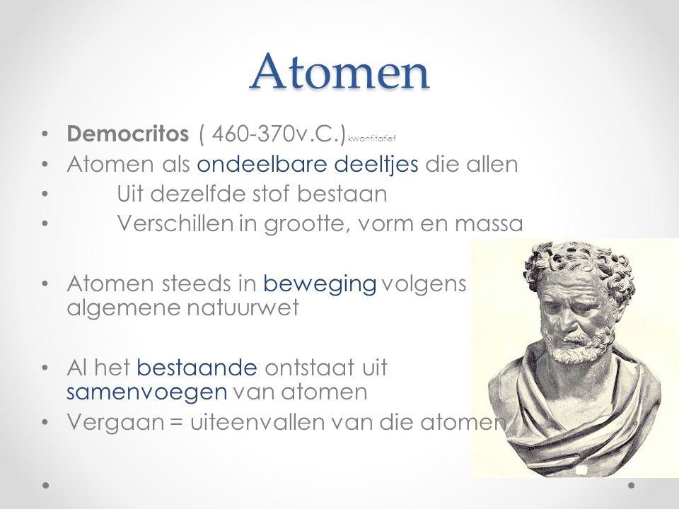 Atomen Democritos ( 460-370v.C.)kwantitatief