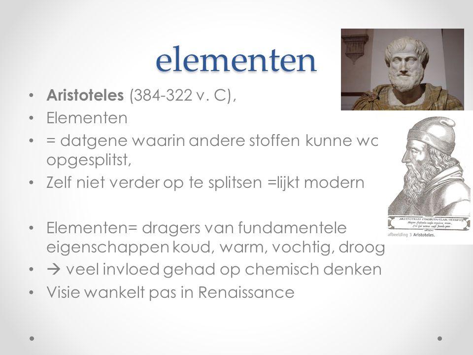 elementen Aristoteles (384-322 v. C), Elementen