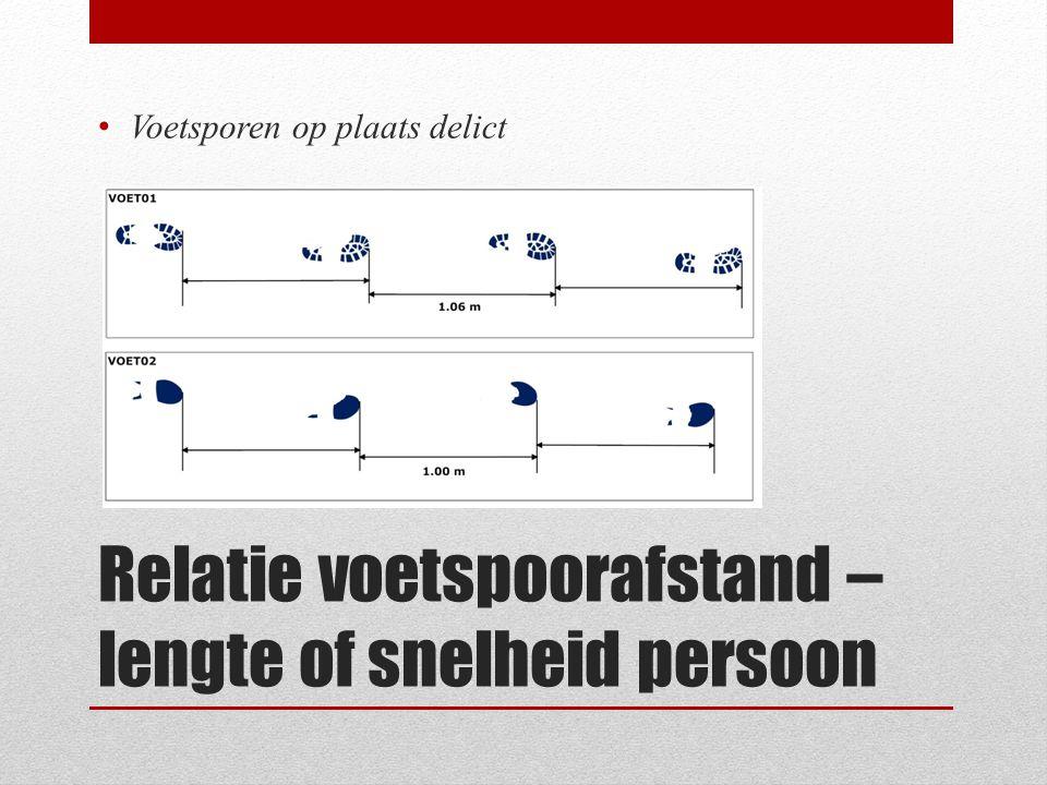 Relatie voetspoorafstand – lengte of snelheid persoon