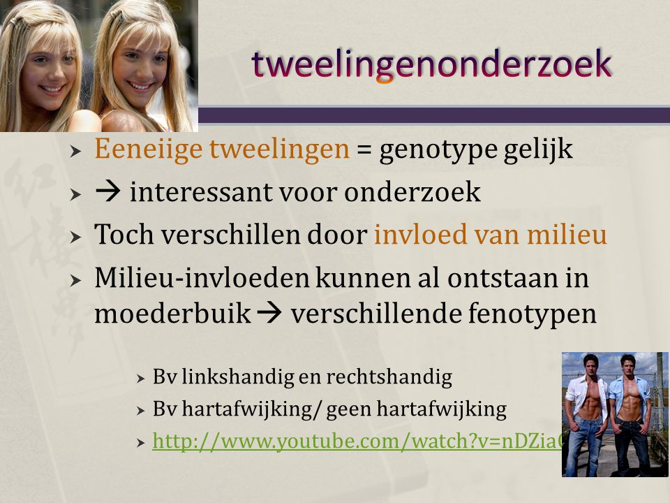 tweelingenonderzoek Eeneiige tweelingen = genotype gelijk