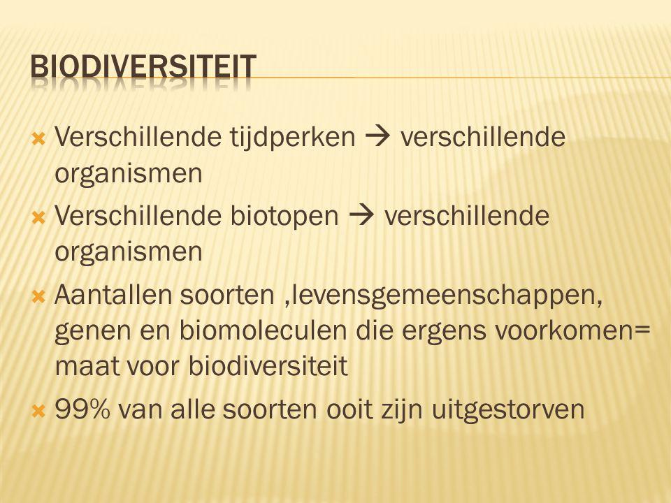biodiversiteit Verschillende tijdperken  verschillende organismen