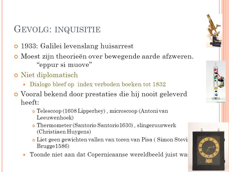 Gevolg: inquisitie 1933: Galilei levenslang huisarrest
