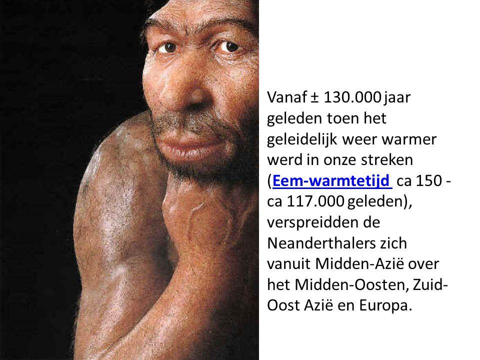 Vanaf ± 130.000 jaar geleden toen het geleidelijk weer warmer werd in onze streken (Eem-warmtetijd ca 150 - ca 117.000 geleden), verspreidden de Neanderthalers zich vanuit Midden-Azië over het Midden-Oosten, Zuid-Oost Azië en Europa.