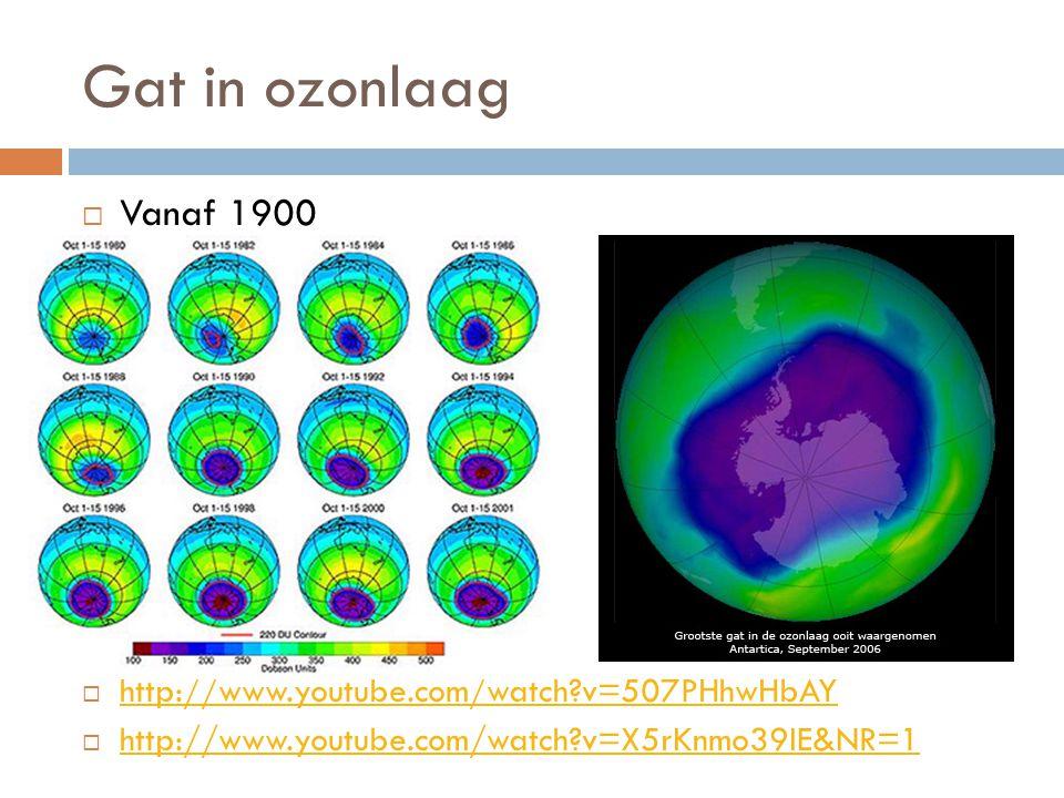 Gat in ozonlaag Vanaf 1900 http://www.youtube.com/watch v=507PHhwHbAY